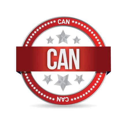 make belief: can on red rubber stamp illustration design over white Illustration