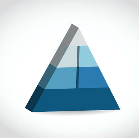 Blue glossy pyramid chart illustration design over white Vector