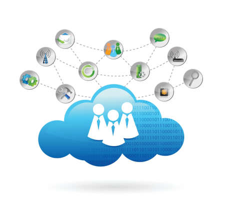 think tank: communication cloud illustration design over a white background