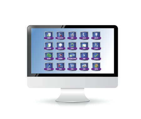computer with apps or buttons illustration design over white