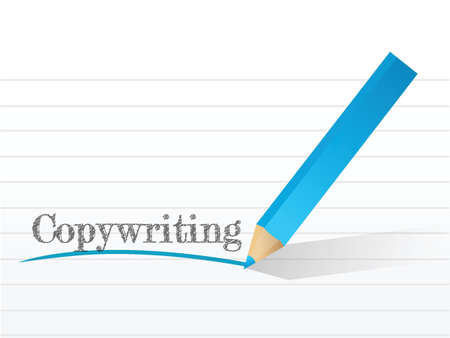 pr: copywriting word on a white notepad paper with a pencil Illustration