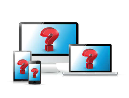 Question Concept, on electronics illustration design over white Stock Vector - 20530596