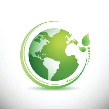 緑の地球。生態学の概念。白のイラスト デザイン