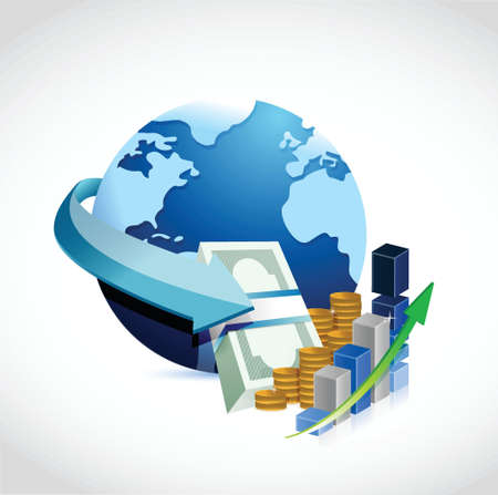international money: globe and money illustration design over white