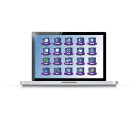 laptop with apps or buttons illustration design over white Illusztráció