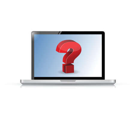 Question Concept, on a laptop illustration design over white Stock Vector - 20530594