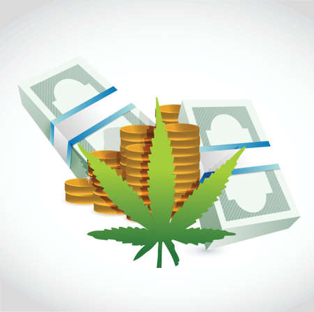 dealer: Piles of money currency and marijuana leaf. illustration design