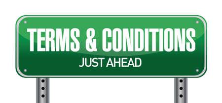 specifiche: Termini e condizioni di strada segno illustrazione di progettazione su bianco Vettoriali