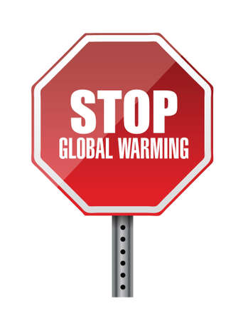 stop global warming red road sign illustration design Reklamní fotografie - 20530550