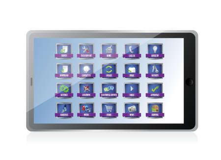 tablet with apps or buttons illustration design over white Illusztráció