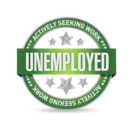 白い背景の上の失業のスタンプ イラスト デザイン