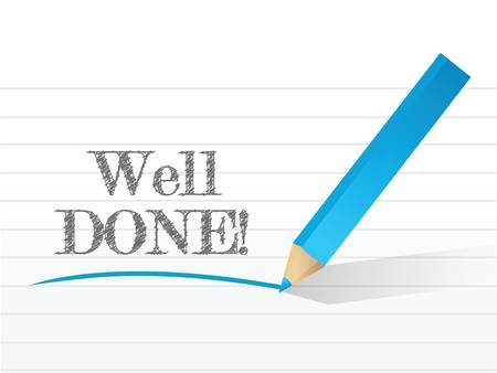 acclaim: well done in white notepad space illustration design over white