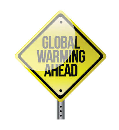 global warming yellow road sign illustration design Illustration