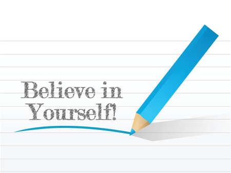 zelf doen: geloof in jezelf illustratie ontwerp op een witte achtergrond