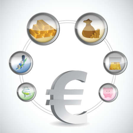 retailers: euro symbol and monetary icons cycle illustration design over a white background