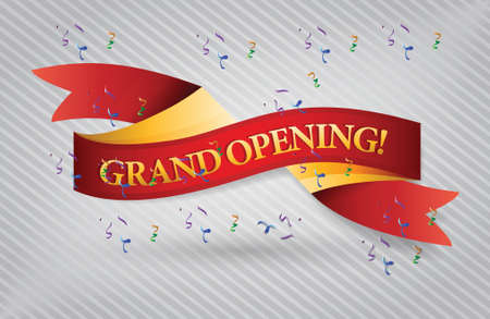 new beginning: grand opening red waving ribbon banner illustration design over white