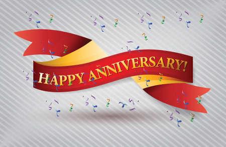 happy anniversary red waving ribbon banner illustration design over white