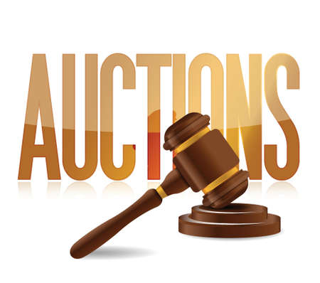 consumer rights: word auction and wooden gavel illustration design Illustration