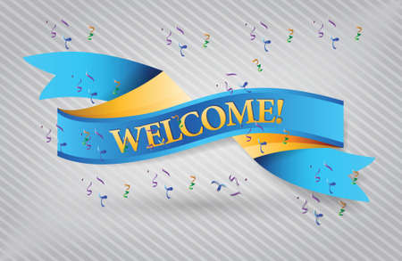 notify: welcome blue waving ribbon banner illustration design over white