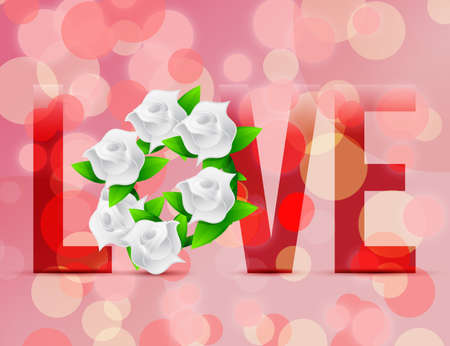 Love flowers illustration designs over a light background illustration