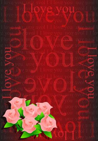I love you flowers illustration design background Stock Illustration - 20530728