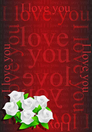 I love you flowers illustration design background Stock Illustration - 20530727