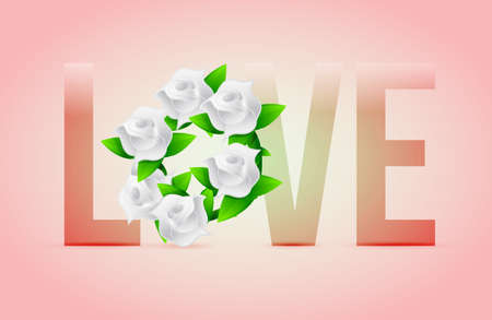 pastel Love flowers illustration designs over a light background Stock Illustration - 20530768