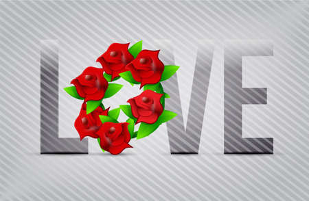 red love flowers illustration designs over a light background Stock Illustration - 20530776