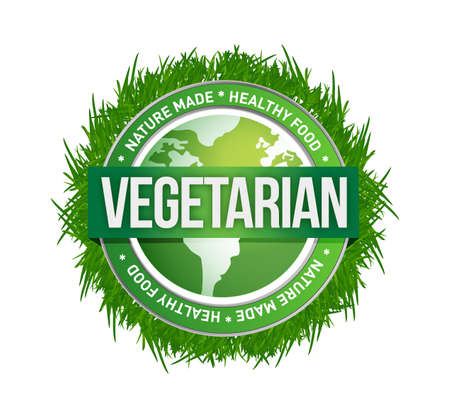 vegetarian green seal illustration design over a white background