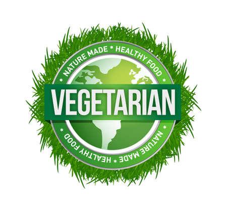 allergen: vegetarian green seal illustration design over a white background
