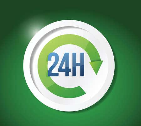 Open de klok rond, 24 uur per dag illustratie ontwerp