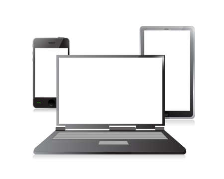 laptop, mobile phone and digital tablet pc computer over white Stock Photo - 20530748