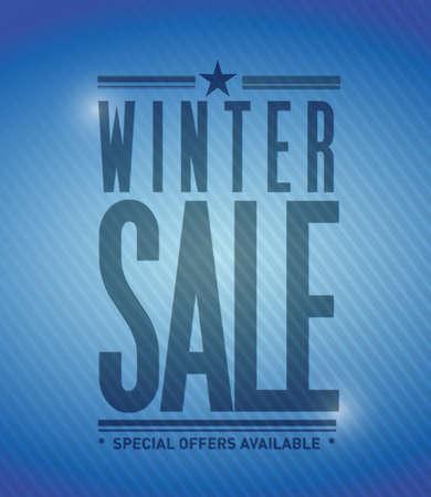 winter sale banner illustration design over a blue background Banque d'images