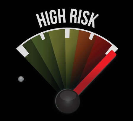 Risico concept, instrumentenbord indicator snelheidsmeter illustratie ontwerp
