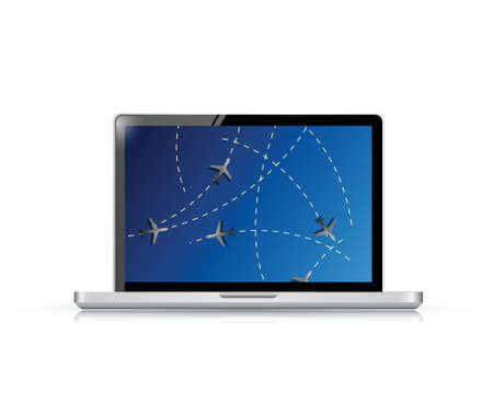 reflection: laptop fly tracker concept illustration design over a white background