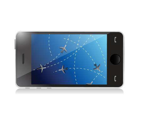 3g: phone fly tracker concept illustration design over a white background Illustration