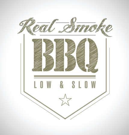 unique and Classic text Barbecue Stamp illustration design Vettoriali