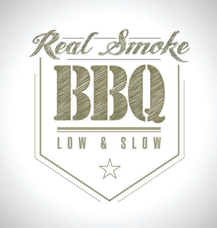 slow: unique and Classic text Barbecue Stamp illustration design Illustration