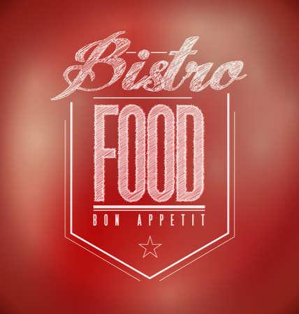 red Bistro Poster sign text banner illustration design illustration