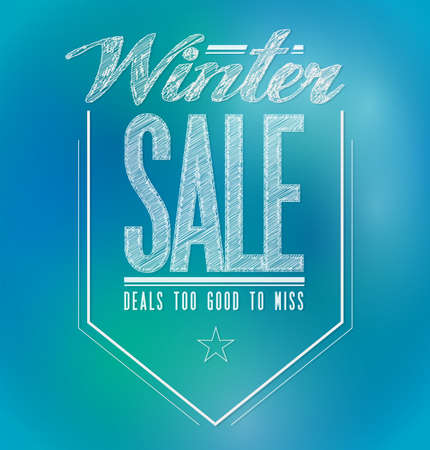 blue and green lights winter sale poster sign banner illustration design Stock Illustration - 20606552