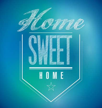 blue and green Vintage Home Sweet Home Sign poster illustration illustration