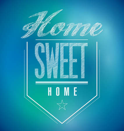 blue and green Vintage Home Sweet Home Sign poster illustration 免版税图像