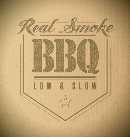 bbq ribs: unique and Classic text Barbecue Stamp on a cardboard texture Stock Photo