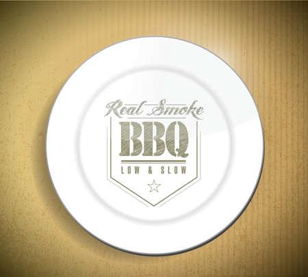 段ボールのテクスチャ上の皿の上のユニークかつクラシックなテキスト バーベキュー スタンプ 写真素材