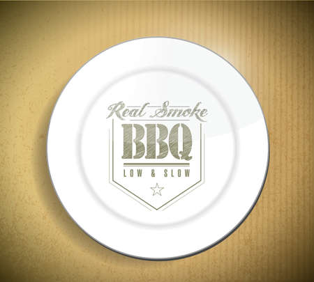 unique and Classic text Barbecue Stamp on a plate over a cardboard texture Reklamní fotografie - 20609771