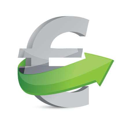 euro sign with arrow. Symbolize growth. Illustration design