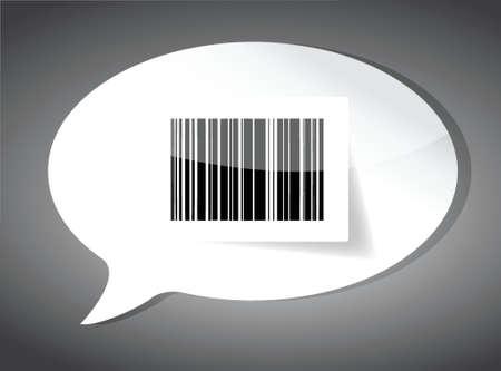 Barcode label aan de binnenkant van een tekstballon over zwart