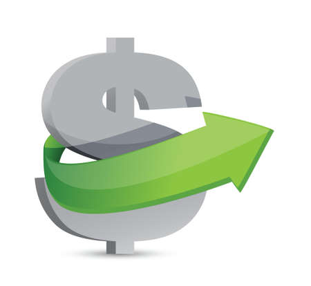 symbolize: dollar sign with arrow. Symbolize growth. Illustration design