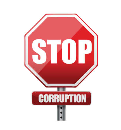blackmail: Stop corruption road sign illustration design over white