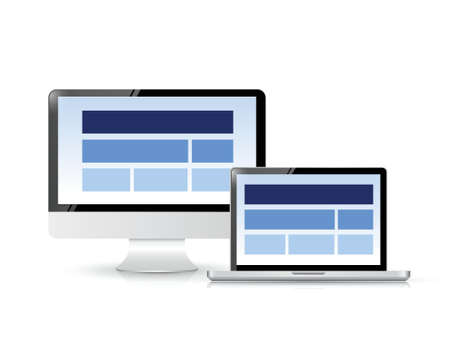 website layout on a computer screen. illustration design over white Vector